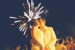 Fireworks on wedding